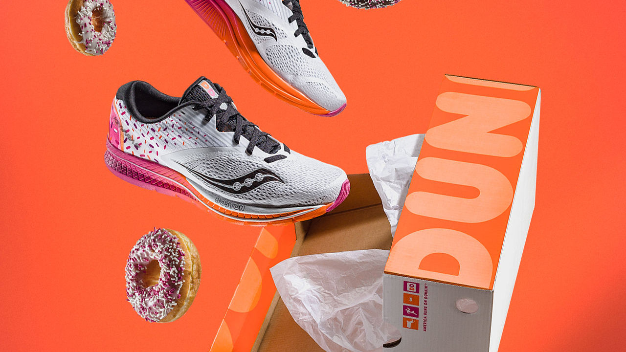 timeless design 76c8e 31148 This week, Saucony launched a Dunkin Donuts-themed model of its Kinvara 9  running shoe to celebrate the city of Boston a couple of weeks ahead of the  2018 ...